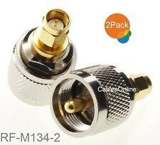 2-Pack SMA Male Plug to UHF Male Plug Silver/Gold RF Adapter, RF-M134-2