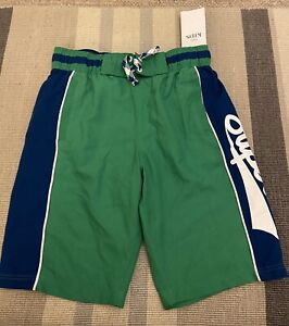 NWT M&S Kids Boys Swim Boardshorts Green & Blue Age 9-10 Years