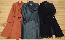 3 COATS BLACK BROWN LIGHT RUST EDGEMONT SUEDE LEATHER TRENCH COTTON  SIZE 12