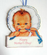 Baby's First Mother's Day Handcrafted Wooden Ornament Card Grandma Gift Bonnet