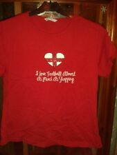 RED SHORT SLEEVE I LOVE FOOTBALL ALMOST AS MUCH AS SHOPPING TOP SIZE 16
