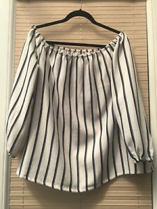MISS GUIDED WHITE BLACK STRIPED OFF SHOULDER BLOUSE SIZE 10