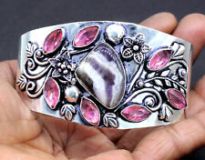 """Plated Jewelry Cuff Bracelet Size-7-8"""" Natural Carve Amethyst Gemstone Silver"""