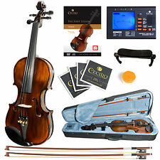 Mendini Size 4/4 Violin Ebony Fitted 1pc Flamed Back +Tuner+Book/Video ~4/4MV500