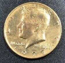1977-P GOLD GILDED KENNEDY HALF DOLLAR SELECT UNC STUNNING BU GEM (MR)
