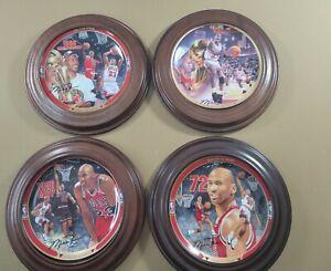 Michael Jordan Chigago Bulls Upperdeck 1995 & 1996 Porcelain Plates With Frames