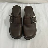 Born Womens Leather Slip On Clogs Mules Size US 8 Brown Buckle EUC Ships Free