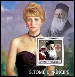 Sao Tome 2003 MNH MS, Dunant, Nobel Peace, Diana, Red Cross