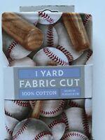 Baseballs And Bats Fabric 100% Cotton 1 Yard Precut Baseball Theme