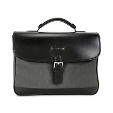 Montblanc Grey/Black Canvas and Leather Single Gusset Briefcase 106731