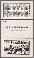 1954 Cincinnati Reds Gene Morgan Garage Baseball Pocket Schedule Ex+Nm Condition