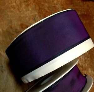 Vintage Ribbon Acetate Rayon Purple Dark Green Shimmer 1yd Made in France