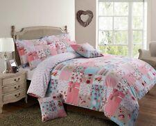 Vintage Shabby Chic Stitch Trail Pink Duvet Set Bedding Quilt Floral Patchwork