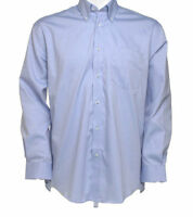 Kustom Kit KK105 Mens boys long sleeve shirt office casual work Light blue NEW