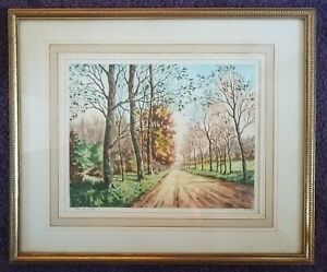 The Road by Philippe Genuine Signed Etching Paris Etching Society Vintage Framed