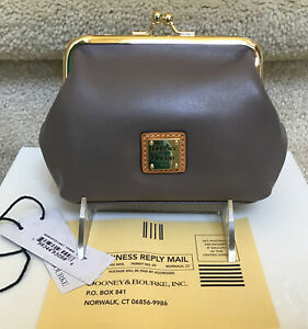 Dooney & Bourke Wexford Smooth Leather Large Frame Coin Purse in TAUPE