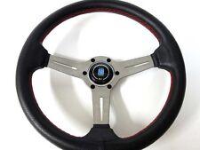 "New Nardi Style Leather 13.8"" Strong Titanium Spoke Racing Steering Wheel"