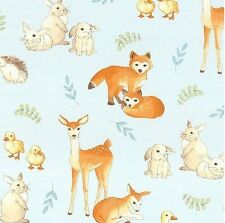 Fawns & Friends - Baby Animal for Robert Kaufman Powder blue -100% cotton Fabric