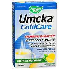 Natures Way Umcka Cold Care Soothing Hot Drink Packets, Lemon 10 ea (Pack of 2)