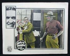 SMILIN' AT TROUBLE 1925 Rare lobby card Maurice Lefty Flynn Helen Lynch silent