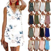 Women Sleeveless Vest Loose Tunic Shirt Dress Summer Beach Holiday Sundress UK