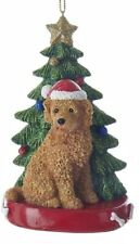 Kurt Adler LABRADOODLE--GOLDENDOODLE w/ Tree on Base Christmas Ornament-Apricot