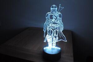 3D inspired Mandalorian Star Wars Visual Night Light 14 Colours Remote LED Lamp