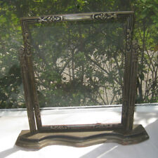 Antique Wood Desk Photograph Mirror Holder Frame Rotate Up/Down Carved Art Green