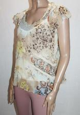 together Brand Floral Chiffon Short Sleeve Blouse Top Size 36 BNWT #SU16