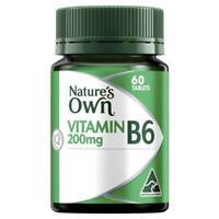 NATURE'S OWN VITAMIN B6 200MG 60 TABLETS PMS, PREGNANCY MORNING SICKNESS