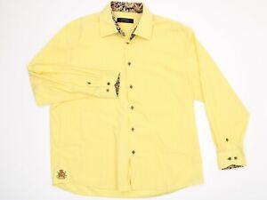 Coogi Mens 3XL Dress Shirt, Button Up, Yellow Long Sleeve Shirt