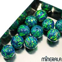 [WHOLESALE] BLUE W. GREEN SYNTHETIC OPAL FULL DRILLED ROUND BEADS VARIOUS SIZES