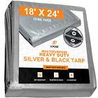 18' x 24' Heavy Duty Silver/Black Poly Tarp Cover Tent RV Boat Tarpaulin