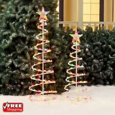 Christmas Lighted Spiral Tree Sculptures 2-Pack Holiday Multi-Color LED Lights