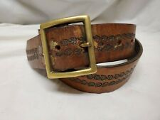 """Vtg 70's Leather Hand Tooled Painted Floral Ladies Belt Hippie Boho 32"""" Brass"""