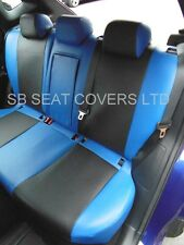 TO FIT A NISSAN QASHQAI CAR SEAT COVERS 2014 BLACK/NEON BLUE LEATHERETTE