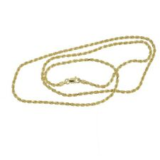 """20"""" 18kt Gold Plated Italian Sterling Silver Rope Chain Necklace 1.6mm #99738"""