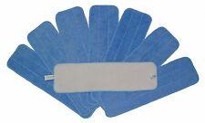 "8 Blue Microfiber Wet Mop Pad Refills, 18"" Washable Pads"