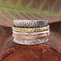 Solid 925 Sterling Silver Spinner Ring Meditation Ring Statement Ring Size s8555