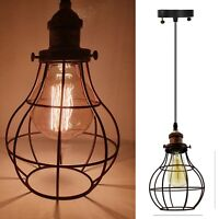 Vintage Industrial Metal wire Balloon cage style Ceiling Pendant Light Shade UK