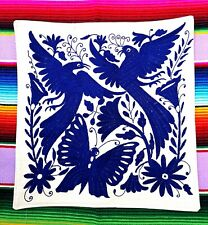 Authentic Large Mexican Otomi Tenango Hand  Embroidered Cushion Cobalt Blue