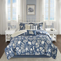 MODERN ELEGANT BLUE WHITE BEACH NAUTICAL SEA SHELL COASTAL OCEAN COMFORTER SET