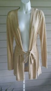 PECK & PECK Open Cardigan Sweater Oatmeal Attach Tie Belt XL Long Sleeve NWT$89