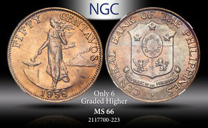 1958 PHILIPPINES 50 CENTAVOS NGC MS 66 ONLY 6 GRADED HIGHER