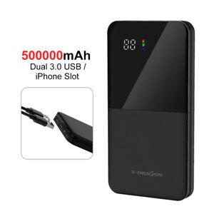 500000mAh Tragbare Power Bank 2USB Externer Batterie Ladegerät Zusatzakku DHL