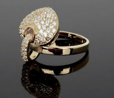 14K Rose Gold made w Swarovski Crystal Stone Dangle Charm Heart Ring Adjustable