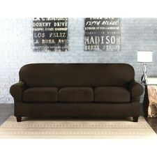 Sure Fit Suede Chocolate Sofa Slipcover 3 cushion style t or box