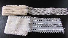 2 X antiguo francés Pretty Crema longitudes de encaje de ganchillo de algodón delgada y 14 ft (approx. 4.27 m) Ancho