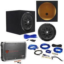 "KICKER 43C124 Comp 12"" 300 Watt Car Subwoofer+Amplifier+Amp Kit+Sealed Sub Box"