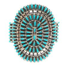 Navajo Turquoise Cluster Sterling Silver Large Cuff Bracelet By: Violet Begay